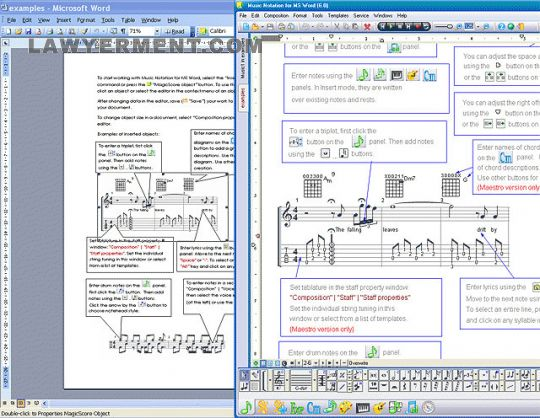 Music Notation for MS Word Screenshot