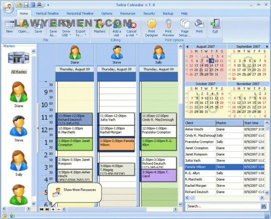 Salon Calendar Screenshot