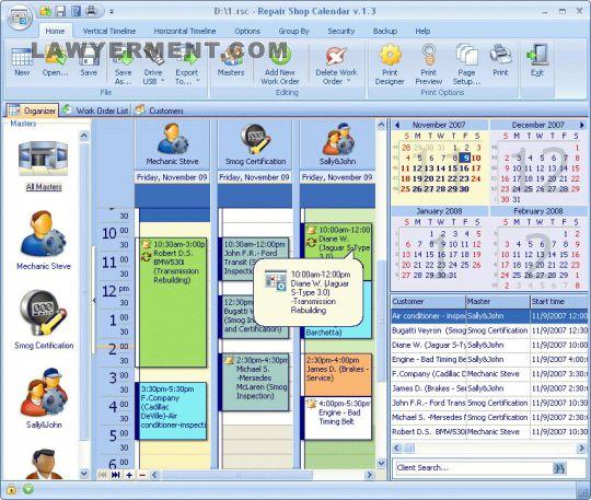 Repair Shop Calendar for Workgroup Screenshot