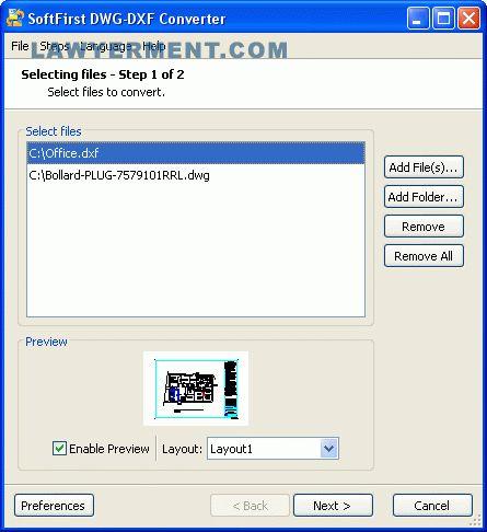 SoftFirst DWG-DXF Converter Screenshot