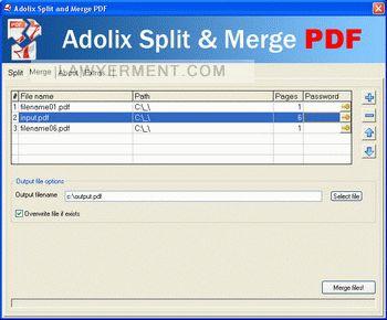 Adolix Split and Merge PDF Screenshot