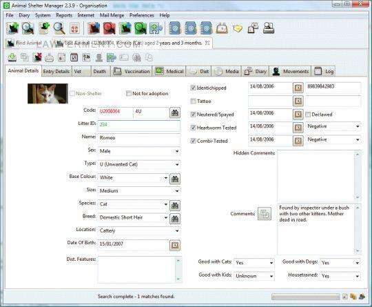 Animal Shelter Manager (ASM) Screenshot