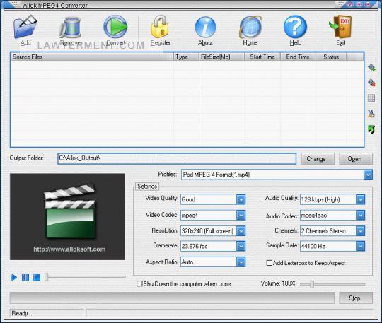 Allok MPEG4 Converter Screenshot