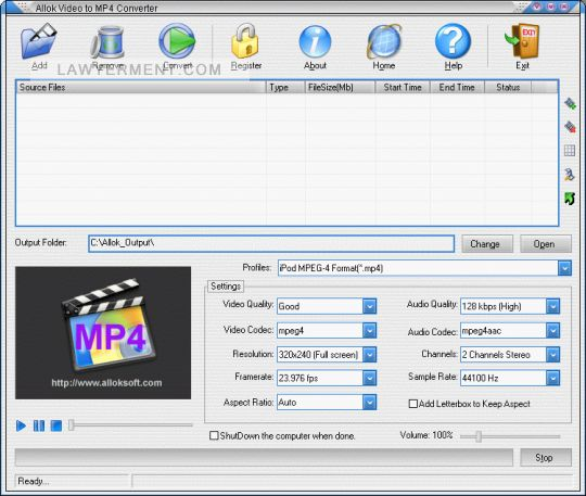 Allok Video to MP4 Converter Screenshot