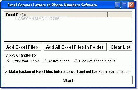 Excel Convert Letters to Phone Numbers Software Screenshot