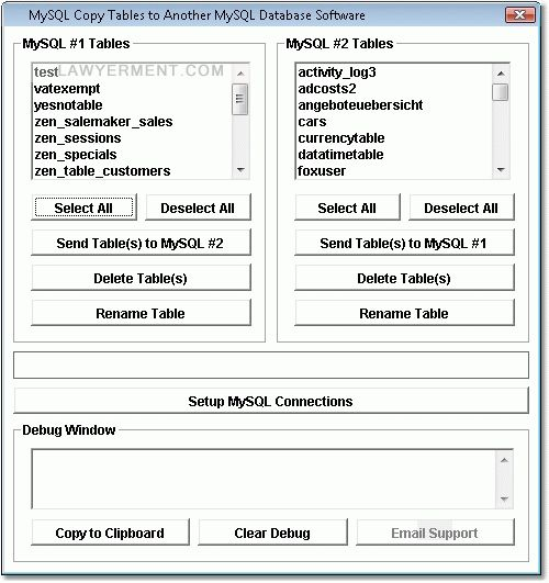 MySQL Copy Tables to Another MySQL Database Software Screenshot