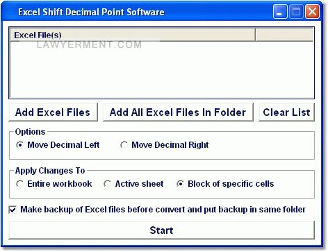 Excel Shift Decimal Point Software Screenshot