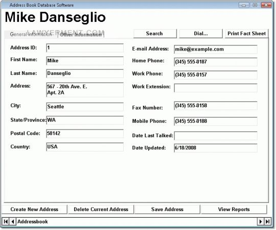 Address Book Database Software Screenshot