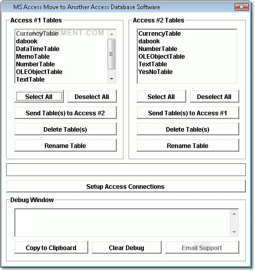 MS Access Copy Tables to Another Access Database Software Screenshot