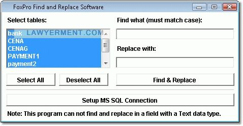 FoxPro Find and Replace Software Screenshot