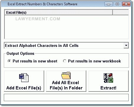 Excel Extract Numbers & Characters Software Screenshot