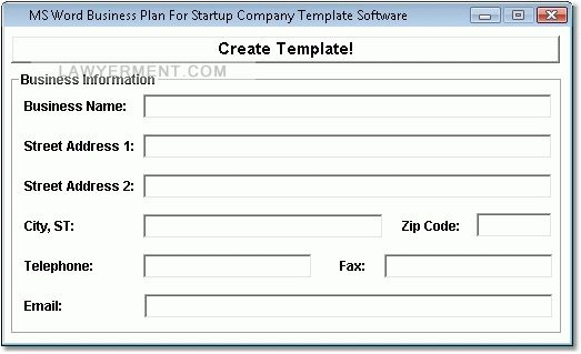 MS Word Business Plan For Startup Company Template Software Screenshot
