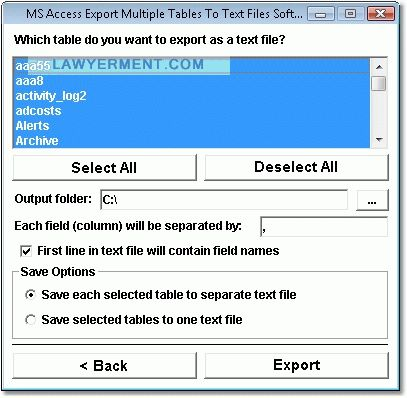 MS Access Export Multiple Tables To Text Files Software Screenshot