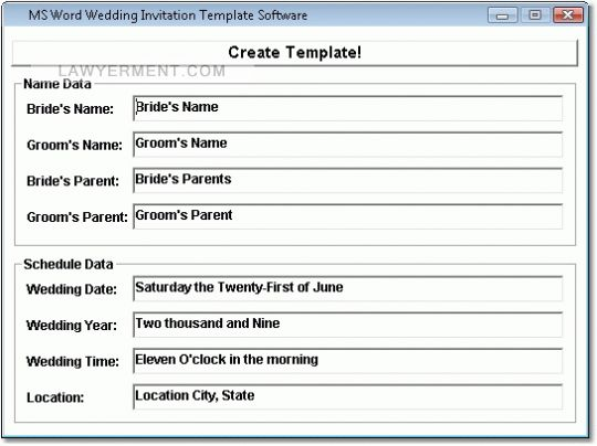 MS Word Wedding Invitation Template Software Screenshot