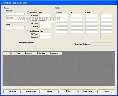 Franchise Loan Calculator Screenshot