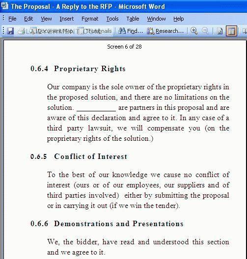 RFP Templates Screenshot