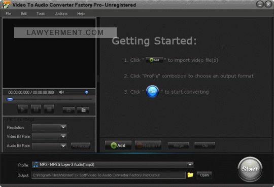 Video to Audio Converter Factory Pro Screenshot