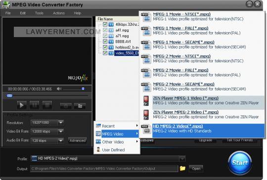 MPEG Video Converter Factory Screenshot