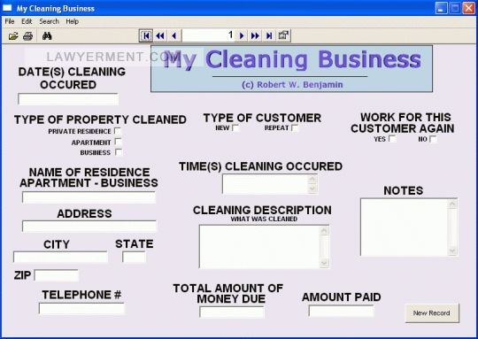 My Cleaning Business Screenshot