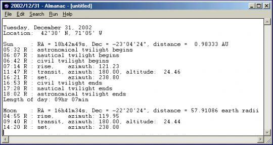 Almanac Screenshot