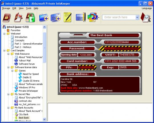 Private InfoKeeper Screenshot