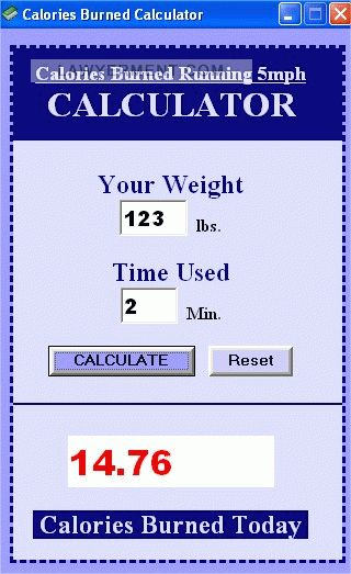 Calories Burned Running at 5mph Screenshot