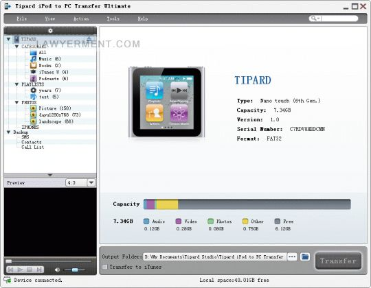 Tipard iPod to PC Transfer Ultimate Screenshot