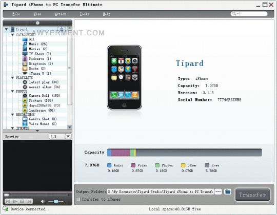Tipard iPhone to PC Transfer Ultimate Screenshot