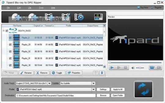 Tipard Blu-ray to DPG Ripper Screenshot