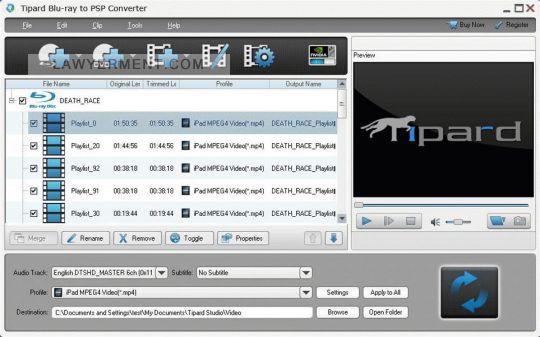 Tipard Blu-ray to PSP Converter Screenshot