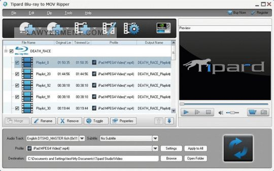Tipard Blu-ray to MOV Ripper Screenshot