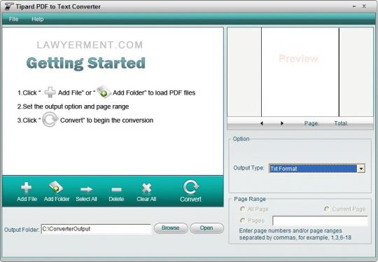 Tipard PDF to Text Converter Screenshot