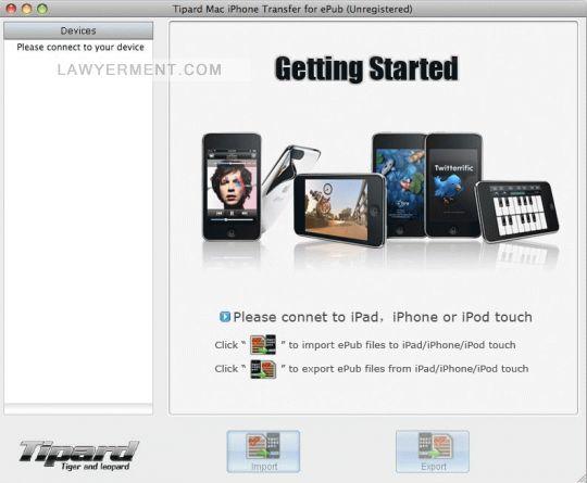 Tipard Mac iPhone Transfer for ePub Screenshot