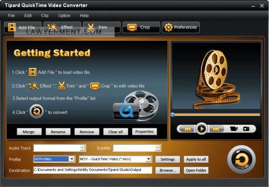 Tipard QuickTime Video Converter Screenshot