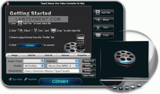 Tipard Nexus One Video Converter for Mac Screenshot
