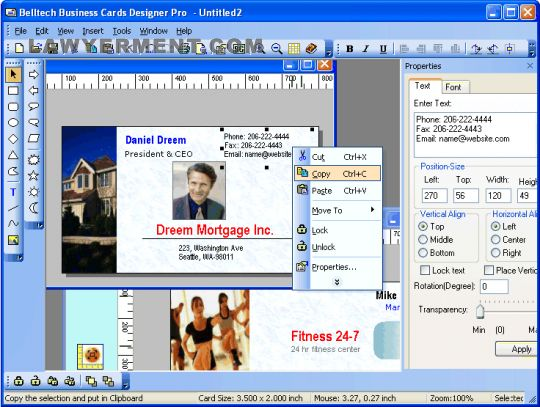 Belltech Business Card Designer Pro Screenshot