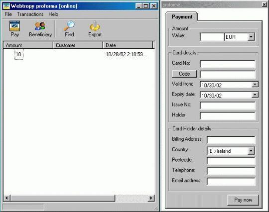 Proforma Screenshot