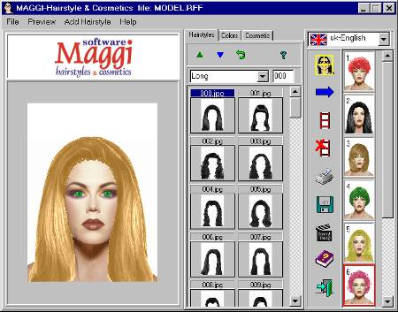 MAGGI-Hairstyle and Make-up Software Screenshot
