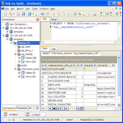 pgISQL (Interactive SQL for PostgreSQL) Screenshot
