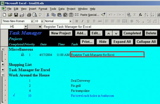 Task Manager for Excel Screenshot