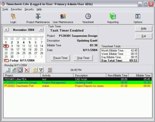 Timesheets Lite Screenshot
