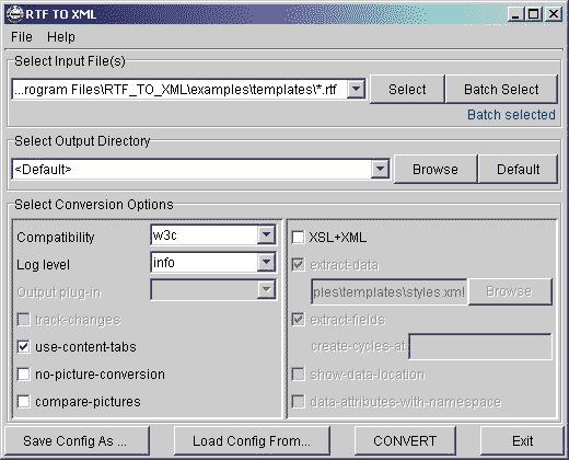 RTF TO XML Screenshot