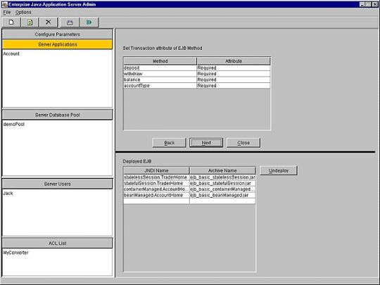 Enterprise Java Application Server Screenshot