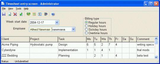 CyberMatrix Timesheets Standard Screenshot
