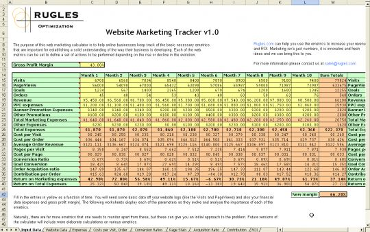 Website Marketing Tracker Screenshot