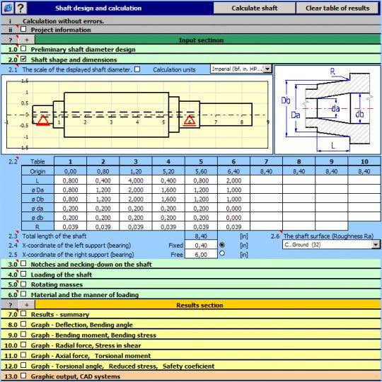 MITCalc - Shafts Calculation Screenshot