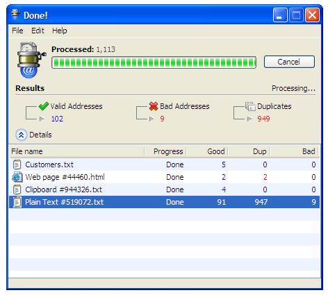 eMail Extractor Screenshot