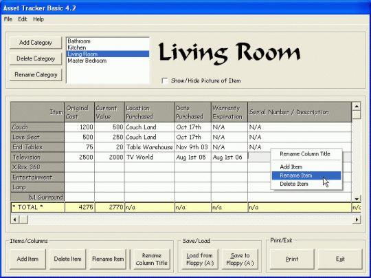 Asset Tracker Basic Screenshot