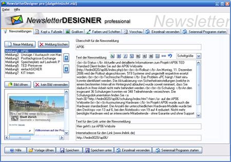 NewsletterDesigner pro Screenshot