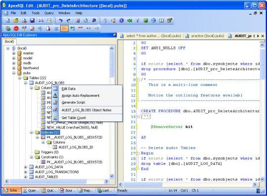 Apex SQL Edit Screenshot